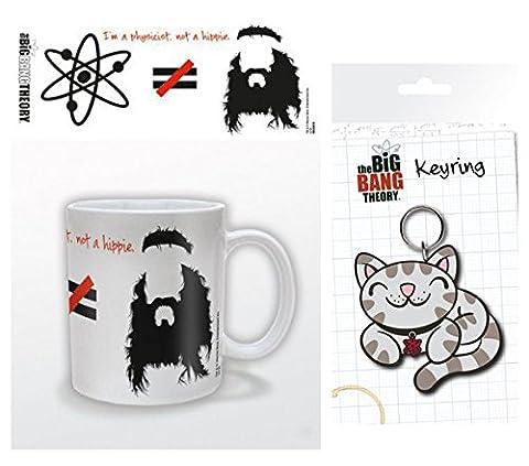 Set: The Big Bang Theory, Je Suis Physicien Pas Hippie, Équasion Tasse À Café Mug (9x8 cm) Et 1 The Big Bang Theory, Porte-Clés (15x7 cm)