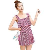 Wmaple Stripe Swimsuit with Skirt Shorts Swimwear Bikini for Women Girls Red M