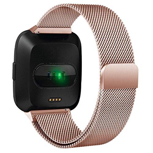 Momola Fitbit Versa Ersatz Armbänd 3 Farben, Ersatz Milanese Band für Fitbit Versa, Uhrband Uhrenarmband mit Magnet-Verschluss und Metallschließe (Rose Gold)