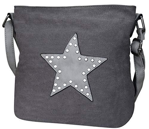 PiriModa Damen Stern Handtasche Schultasche Clutch TOP TREND Tragetasche (M2 Dunkelgrau)