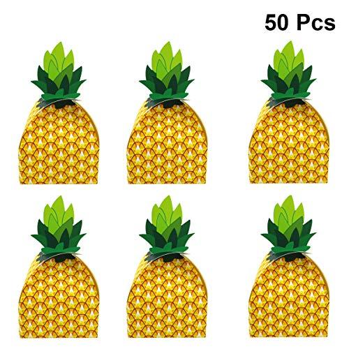 Amosfun Ananas-Süßigkeiten-Box für Sommer, Party, Süßigkeiten-Box für Tropische Themenpartys und Hawaii-Party-Dekorationen, 50 Stück (Partys Hawaii-dekorationen Für)