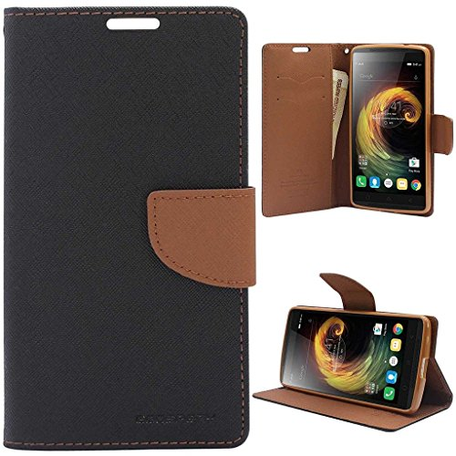 Sony Xperia M2 Flip Cover With USB LED Light By Relax And Shop (Black Brown+ Colors May Vary In USB Light)