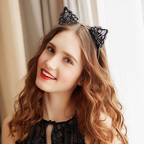 1 x Katzenohren Stirnband für Frauen Mädchen, Spitze, -