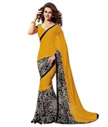 Jay Varudi Creation Women's Yellow & Black Georgette Printed Sarees With Blouse Pcs (SC11_YS_Yellow_Free_Size)