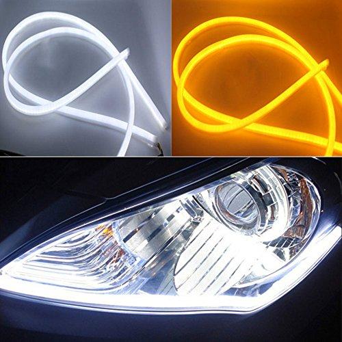 Preisvergleich Produktbild HopeU5® 2x 60cm Einfarbige Stück Auto Stil Schlauch 12V DC Weiß-Gelb Switchback Scheinwerfer LED Auto Streifen Licht DRL Tagfahrlicht