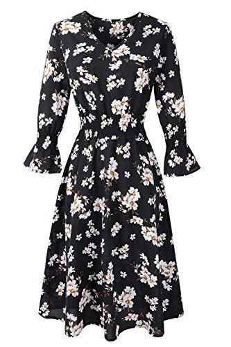 FUTURINO Damen Retro-Blumenmuster Kleid V-Ausschnitt Chiffon Kleid Langarm Blumen A Linie Blumen Elegant Vintage Cocktailkleid, Schwarz 01, 2XL(EU 44)