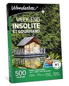 Wonderbox – Coffret Cadeau séjour - WEEK END INSOLITE ET GOURMAND – 500 séjours en tipis, cabanes, yourtes, roulottes, maisons d'hôtes de charme pour 2 personnes avec diner et petit-déjeuner