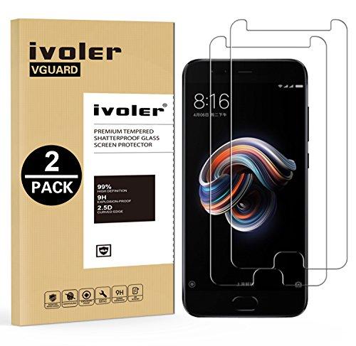 iVoler [2 Stücke] Panzerglas Schutzfolie für Xiaomi Mi Note 3 [9H Härte] [Anti- Kratzer] [Bläschenfrei] [2.5D R&e Kante]