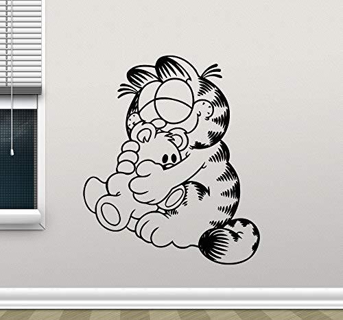 yaoxingfu Garfield Wandtattoo Cartoon Katze Kindergarten Kinder Schlafzimmer Selbstklebende VinylWandaufkleber SteuernDekor Wohnzimmer Dekor Wandbild L56X66 cm