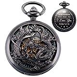 ManChDa Reloj de Bolsillo para Marido, Relojes de Bolsillo Grabados, Lucky Dragon y Phoenix Relojes mecánicos de Bolsillo con Cadena para Hombre Regalo de San Valentín