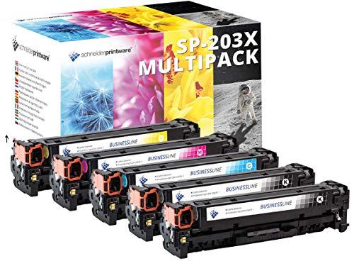 4 Schneider Printware Toner | 40% höhere Reichweite | kompatibel zu HP 203X, 203A, CF540X, CF541X, CF542X, CF543X für HP Color Laserjet Pro MFP M281fdw, M280nw, M281fdn, M254nw, M254dw, M254n -