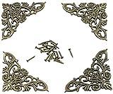 LAUBLUST Metall Ornamente im 4er Set - Messing Style ca. 65 x 37 x 2 mm - Florales Jugendstil Design - Deko Ecken zum Verzieren von Kisten Möbeln Büchern