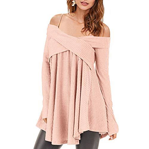 7c7fa9911aa7 Rosegal Frauen Kalt Schulter Langarm Crossover Sweater Strickpullover  Tunika Top (M, Pig ROSA)