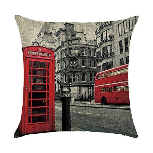 ty Serie Pisa New York London Paris Rom Home Kissenbezug Baumwolle Bettwäsche Kopfkissenbezug Quadratisch Retro Doppelseitig Kissen Call Box 06 ()