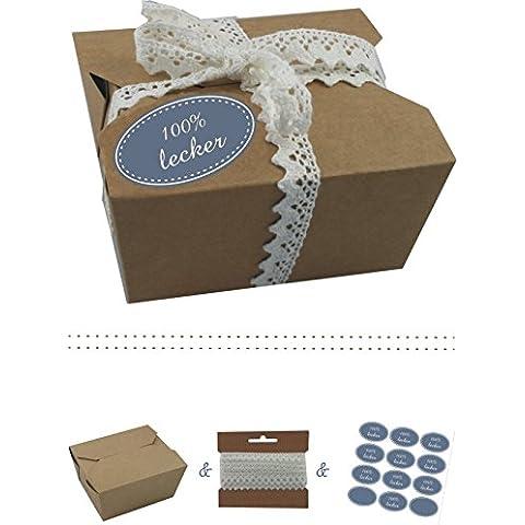 Il-label | 10 x scatole regalo in cartone con forza marrone colorati adesivi 10 x 100% buono + uncinetto punta | Colore SCATOLE come confezione regalo o in scatola per torte | Cupcakes | Cioccolatini | Biscotti e molto altro wuestenblau-creme