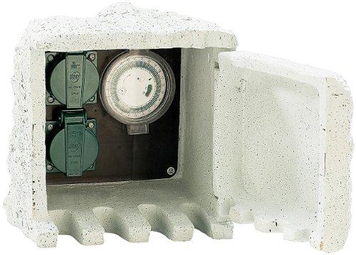 Royal Gardineer Stein Steckdose: Gartensteckdose mit Zeitschaltuhr IP44 / 230V (Gartensteckdose wasserdicht)