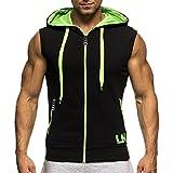 Bold Manner Herren Ärmelloses Shirt Sport Tops Hoodie Kapuzensweatshirt mit Reißverschluss Mantel