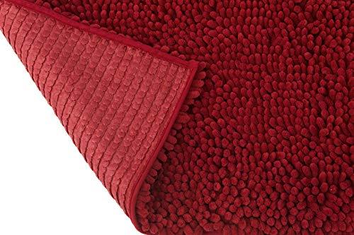HomeLife Luxuriöser Badteppich, Rutschfest, aus Chenille, extra weich, besonders saugfähig [50 x 80] / [60 x 120], Badematte, langflorig, Moderne Duschvorleger aus Gummi, waschbar 50X80 rot