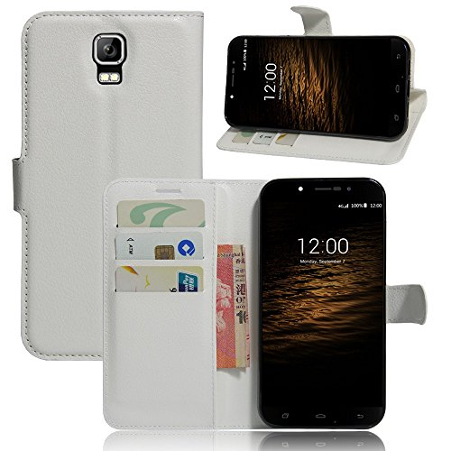 Tasche für UMI Rome / Rome X Hülle, Ycloud PU Ledertasche Flip Cover Wallet Case Handyhülle mit Stand Function Credit Card Slots Bookstyle Purse Design weiß