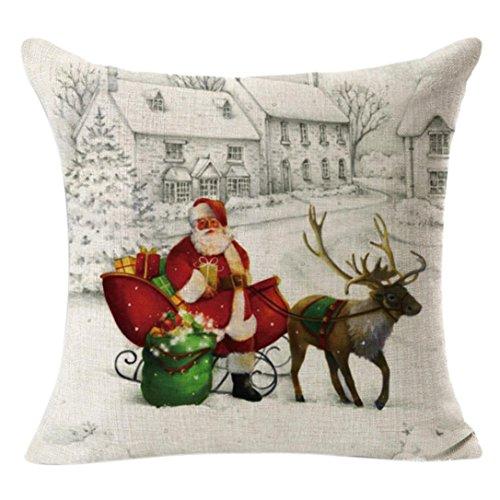 Hirolan Weihnachten Leinen Platz Werfen Baumwolle Flachs Kissen Fall Dekorativ Kissen Kissen Abdeckung 45cmx45cm Drucken Sankt Hirsch (45cmx45cm, Beige) -