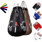 TurnerMAX Leather Pear Shape Maize Bag, Boxing Punch Bag, Filled, FREE Chain & Mitts