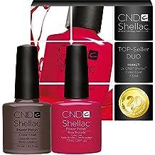 Juego de esmaltes para uñas CND Shellac con activación UV/LED, color gris topo y rosado, 7,3ml (paquete de 2 unidades)