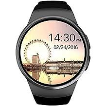 Efanr KW18redondo Bluetooth reloj inteligente con ranura para tarjeta SIM, reloj de pulsera Smartwatch podómetro actividad Fitness Tracker Monitor de frecuencia cardíaca para Android Samsung IOS iPhone X 8Plus hombres mujeres