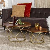 مجموعة طاولات قهوة عصرية دائرية باحجام تدريجية اثاث لتزيين غرفة المعيشة من ووكر اديسون Set of 2 Walnut/Gold