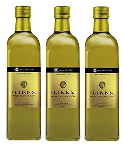 3x 750 ml Iliada PDO Kalamata Olivenöl aus Griechenland extra nativ + Probiersachet Oliven Öl aus Kreta a 10 ml