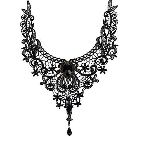 DDU Damen Schwarz Anhänger Vintage Spitze Gotik Quaste Halskette