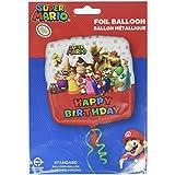 Amscan–3200901Super Mario Bros feliz cumpleaños Foil Globos