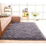 kooco Größe flauschig dicker werden Teppiche rutschsicheren Shaggy Bereich Teppich Esszimmer Teppich Fußmatte Home Schlafzimmer Home Supplies, Polyester, grau, 60x160cm