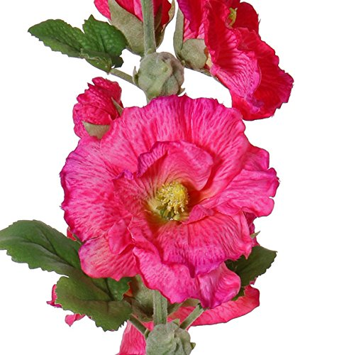 artplants Künstliche Stockrose ILJANA, 9 Blüten, pink, 85 cm – Kunstrose/Künstliche Blumen