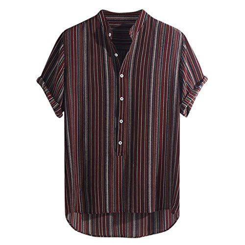 1b16c147d9643a Lazzboy Uomo Camicia Top Multicolor Stripes/Color Block Plus Size Graffiti  Manica Corta Bottoni Larghi Largo Bluse(M,Wine-Gessato)