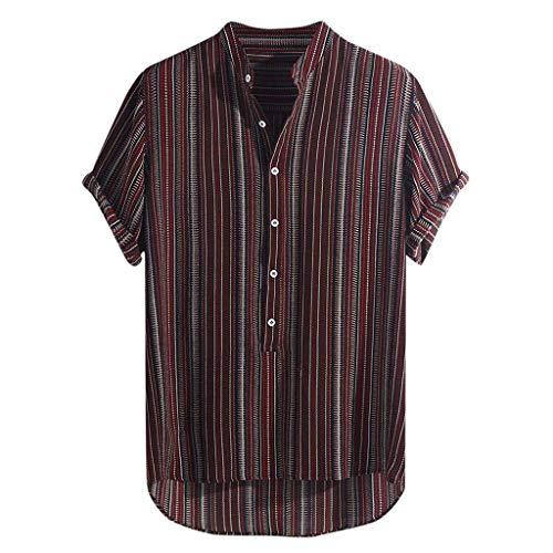 912742388 Lazzboy Uomo Camicia Top Multicolor Stripes/Color Block Plus Size Graffiti  Manica Corta Bottoni Larghi Largo Bluse(M,Wine-Gessato)
