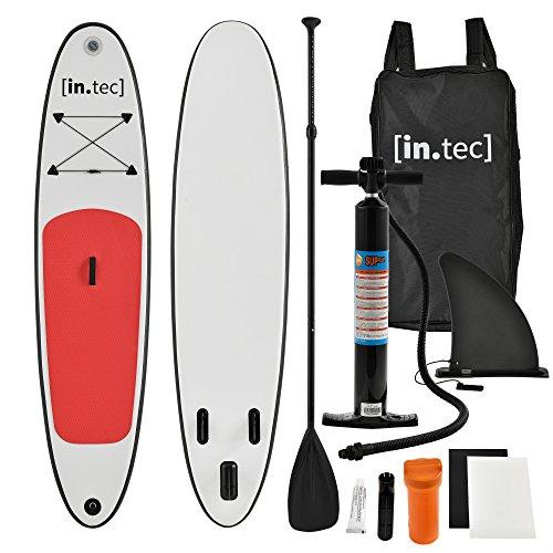 [in.tec] Tabla de Surf Hinchable remar de pie Paddle Board 305 x 71 x 10cm Tabla de Sup de Aluminio con Remo y Bomba - Rojo