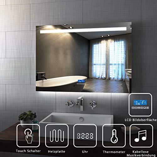 Spiegel Wandspiegel mit LED Beleuchtung 100 x 70 x 6 cm Badspiegel Lichtspiegel mit Zwei Bluetooth Lautsprecher, Touchschalter und beschlagfrei IP44 energiesparend - Kaltweiß (Datum Und Schalter)
