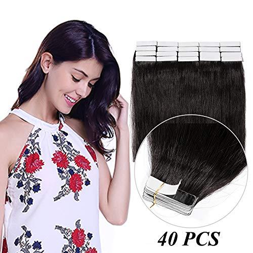 Extension capelli veri biadesivo tape extension adesive 40 fasce/set 100g 100% remy human hair lisci estensioni 2.5g/ciocca (60cm, 1b nero naturale)