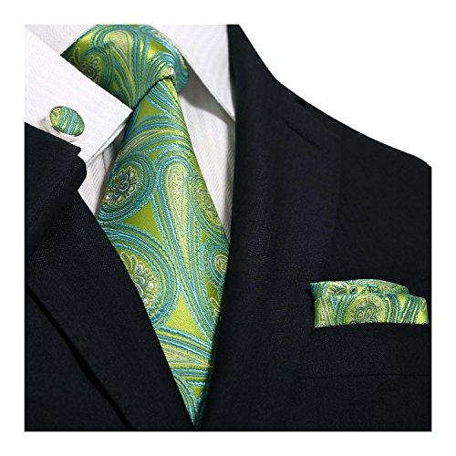 Landisun 71G Krawatten Set 3 tlg Greens Paisleys : Seiden Krawatte + ManschettenKnöpfe + Einstecktuch von