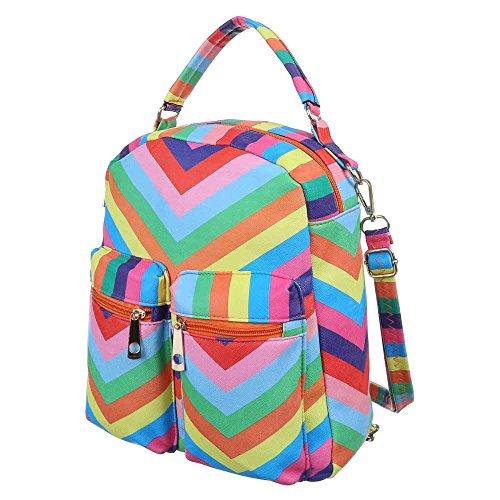 Damen Tasche, Kleine Freizeit Backpack Tasche, Kunstleder, TA-3356 Pink Multi