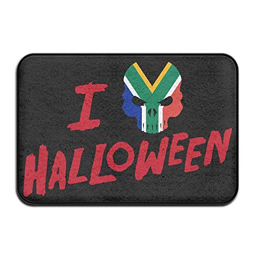 UYTGYUHIOJ Inside & Outside Floor Mat I Love Halloween Skull South African Flag Design Pattern for Dining (Niedliche Halloween-ideen Hause Machen Zu Zu)