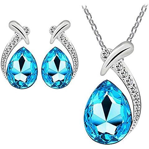 Pyrty (TM) Pendente di cristallo Donne placcato argento della collana della catena Orecchino Jewelry Set 27 luglio - Argento Placcato Orecchini Di Fascino