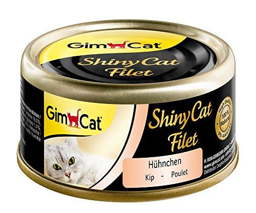 GimCat ShinyCat Filet Hühnchen, Katzenfutter mit 100% Filet für ausgewachsene Katzen, Ohne Zuckerzusatz und glutenfrei, 48 Dosen (48 x 70 g)