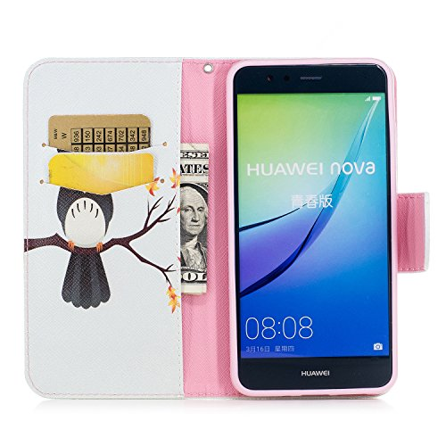 Huawei P10 Lite (5.2 pouce) Coque , PU Cuir Étui Protection Wallet Housse la Haute Qualité Pochette Anti-rayures Couverture Bumper Magnétique Antichoc Case Anfire Cover pour Huawei WAS-LX1/LX1A - Pand Bleu Hibou