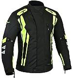 RIDEX Hivis Mens CJ7 Motorbike Motorcycle Waterproof Jacket Protection