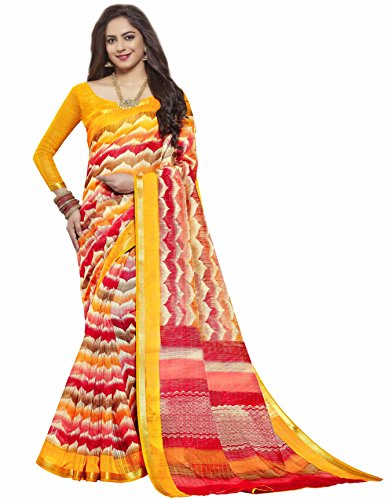 Miraan Printed Chanderi Saree with Zari Border Blouse Piece For Women |...
