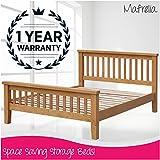 mafrelia Eiche massiv Bett Rahmen mit erhöhtem Fußteil–Perfekt für einen stilvollen und traditionellen Schlafzimmer