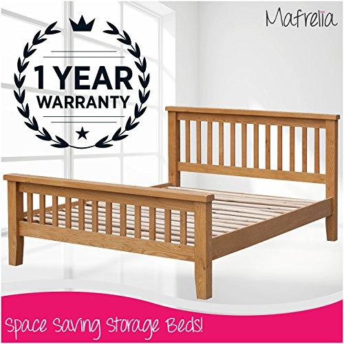 Eiche Kiefer Kopfteil (Mafrelia Eiche massiv Bett Rahmen mit erhöhtem Fußteil-Perfekt für einen stilvollen und traditionellen Schlafzimmer)