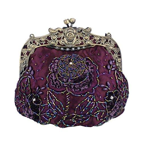 FakeFace 2015 Damen Retro Satin Abendtasche mit Perle Stickerei Bronze Clipverschluss Clutch Damentasche Handtasche Schultertasche Umhängetasche (Violett)