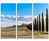 Eau Zone Wandbild auf Leinwand 130x90cmcm Das wunderschöne Val d'Orcia mit Zypressen – Toskana